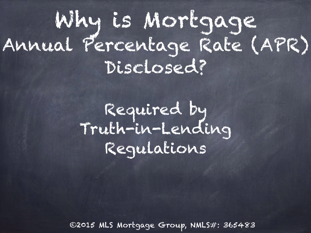 Mortgage Annual Percentage Rate Disclosed