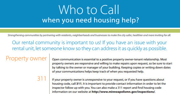 New Who to Call Housing Help Replaces Old Minneapolis 311 Poster Minneapolis